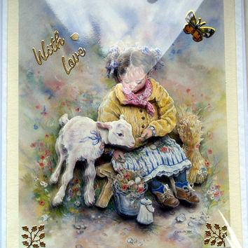 Little Bo Peep, Hand Crafted 3D Decoupage Card, With Love (1803)