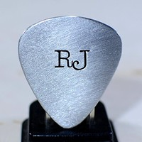 aluminum guitar pick or keyring or necklace with large initials