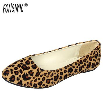 Personality Women Flats Shoes Leopard Pointed Toe Comfortable Soft Female Simple Shoes Contrast Color Flat for Autumn Spring