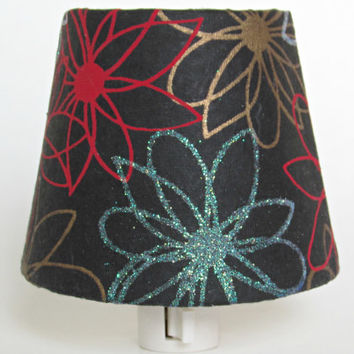 CLEARANCE 50% OFF - Night Light - Black and Gold Tiffany Blue and Red Flowers - Childrens Night Light - Teen Girl Room Decor Accent Lighting
