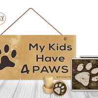 """Gift Set, 4 PC, Dog Paw Print, Dog Lover 5"""" x 10"""" Wood Sign, Two Drink Coasters, One Decorative Wine Stopper, Gift Package, Made To Order"""