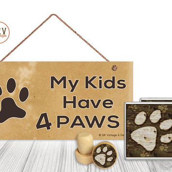 "Gift Set, 4 PC, Dog Paw Print, Dog Lover 5"" x 10"" Wood Sign, Two Drink Coasters, One Decorative Wine Stopper, Gift Package, Made To Order"
