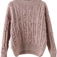 Khaki Long Sleeve Ripped Knitted Sweater