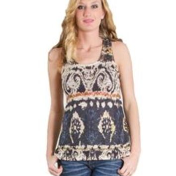 Ginger G Brocade Printed Tank Top for Women 8150S4