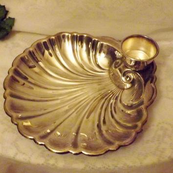 30s Clamshell Silver Plate Serving Plate w Warmer Sheffield Silver