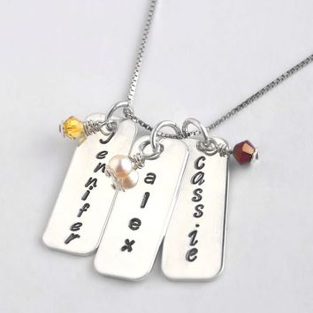 Rounded Rectangles with Birthstones Personalized Necklace, Hand Stamped Sterling Silver, Mommy Jewelry