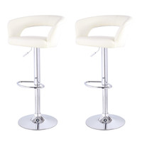 Cream Leatherette Low Cut Out Back Bar Stools (Set of two)