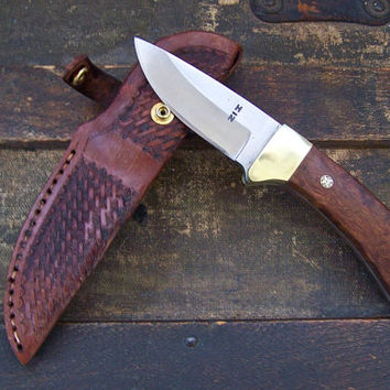 Custom Drop Point Skinning Knife, Hunting Knife, ChenChen Scale Handles, Saddle Leather Basket Weave Sheath