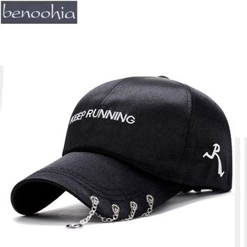 BBS0103 New Unisex Silk Punk Satin Baseball Caps Embroidery Sport Hip Hop Snapback Hat With Metal Iron String Casquette Gorras
