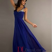 A-Line One Shoulder Chiffon Royal Blue Long Prom Dress/Evening Gowns With Beading VTC558