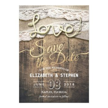 Rustic Love Rope Burlap Lace Wedding Save The Date Card