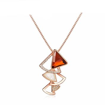 Rose Gold Color Fan Crystal Rhinestone Pendant Necklace
