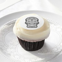 Day of the Dead, Sugar Skull Line Art Edible Frosting Rounds