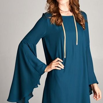 Bell Sleeved Back Side V-Neck  Dress