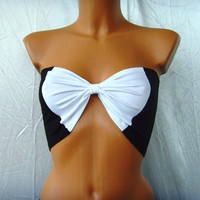 Sexy Sport Bandeau Yoga Summer Beach Bra Tube Top In Black And & White Bow Many Colors Available Accepting Orders CUSTOM MaDe