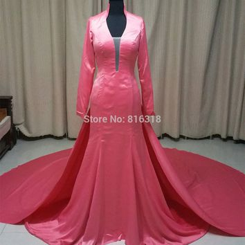 Vestido De Noiva Sereia Long Sleeve Real Medieval Wedding Dress New Design Satin Muslim Wedding Dress