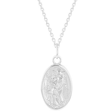 """925 Sterling Silver Guardian Angel Oval Small Medal Pendant Necklace Infants 16"""""""