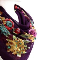 BUY ANY 3 GET 1 OF THEM FREE, large square scarf, purple scarves, romantic gift, autumn scarf, christmas scarf, large cotton scarf, soft scarf shawl, bright flowers,