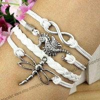 Seahorse bracelet - the nature of the dragonfly bracelet - infinity charm bracelet - white leather cord - blessing - girlfriend and BFF