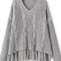 Gray Sweater With Fringer