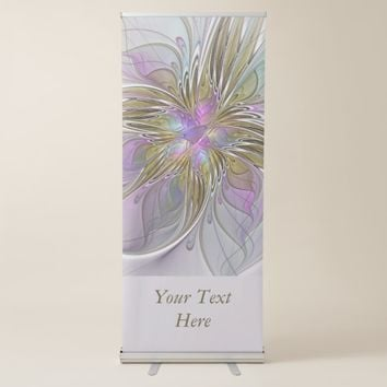Floral Colorful Abstract Fractal Pink & Gold Text Retractable Banner