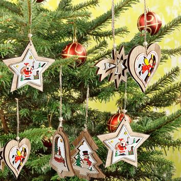 Christmas Wooden Hanging Decor Christmas Tree Ornament Party