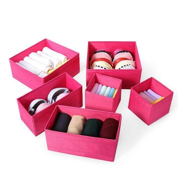 6pcs Drawer Bin Set Closet Dresser Storage Drawer Organizer Basket Bras Socks Underwear Tie Scarves