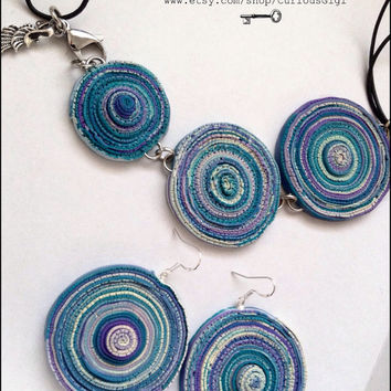polymer clay colorful round earrings & necklace jewelry gift set
