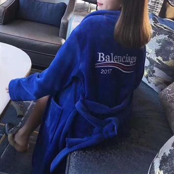 DCCKVQ8 Balenciaga' Women Velvet Home Wear Stripe Letter Embroidery Long Sleeve Middle Long Section Cardigan Nightgown Sleepwear Coat
