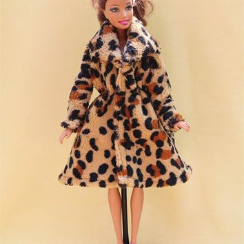 5 colors High Quality Handmade Clothes Dresses Grows Outfit Flannel Leopard Animal pattern coat for Barbie Doll dress for girls