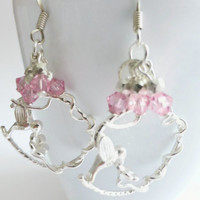 Humming bird earrings, sterling silver round frame with Swarovski pink cluster crystal beads, UK shop
