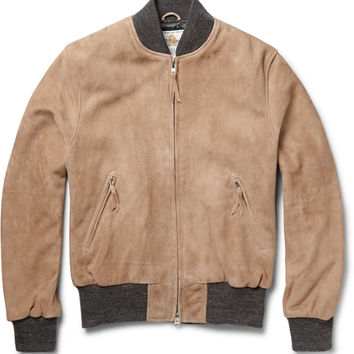 Club Monaco - Golden Bear Suede Bomber Jacket | MR PORTER