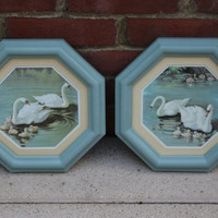 Light blue painted swan framed artwork, home decor