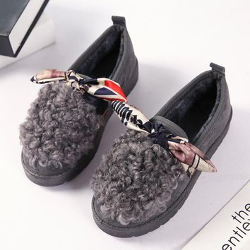 Free Shipping 2017 New Warm winter women shoes Snow Boots Female Floor Shoes Bow-knot