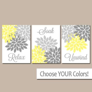 Yellow Gray Bathroom Decor, BATHROOM Wall Art, CANVAS or Prints, Bathroom Decor, Flower Set of 3 Relax Soak Unwind, Home Decor Pictures