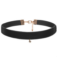 Gemstone Black Thick Velvet Choker