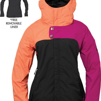 686 Authentic Smarty Path Womens Snowboard Jacket - Colorblock - Lt. Orchid Colorblock