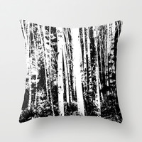 Black and White Forest Throw Pillow by Susan Najarian Design