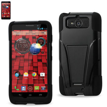 Reiko Silicon Case+Protector Cover Motorola Droid Mini Xt1030 New Type Kickstand Black
