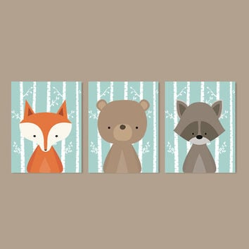 Boy Nursery Art, Woodland Nursery Art, Woodland Animals Nursery Decor, Woodland Baby Shower, Aqua Nursery, Set Of 3 Prints Or Canvas