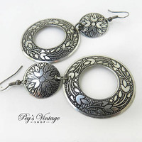 Engraved Silver Plated Hoop Earrings / Vintage Dangle Pierced Hoop Earrings
