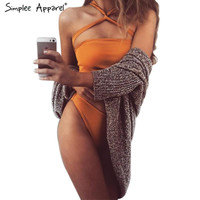 Simplee Apparel Sexy strapless 2016 swimwear female Two piece swim suit bandage bathing suit tube top high waist short pants