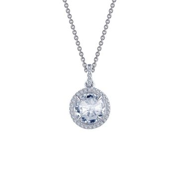Lafonn Classic Sterling Silver Platinum Plated Lassire Simulated Diamond Necklace (2.36 CTTW)