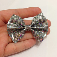 Mini Dark Silver Glitter Canvas Hair Bow on Alligator Clip - 2.5 Inches Wide - AFFORDABOW Line - Affordable and High Quality Hair Bows