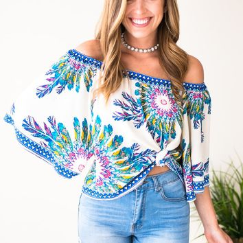Staying in Cancun Off the Shoulder Top