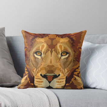 'Lion - Vector Illustration' Throw Pillow by danellemichaud