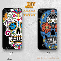Sugar skull, Phone cases, iPhone 5 case, iPhone 5S 5C Case, Floral Skull, iPhone 4/4S Case, Samsung Galaxy S3 S4 S5, Note 2 3, 5C02523