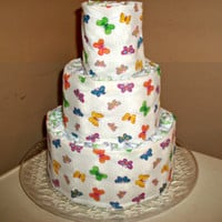 Butterflies Design 3-tier diaper cake table centerpiece or baby gift girl, boy, unisex or neutral