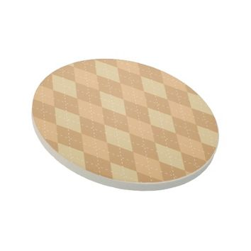 Brown Argyle Like Pattern Sandstone Coaster