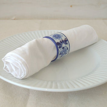 Blue and White Floral Napkin Rings, Unique Painted Napkin Rings